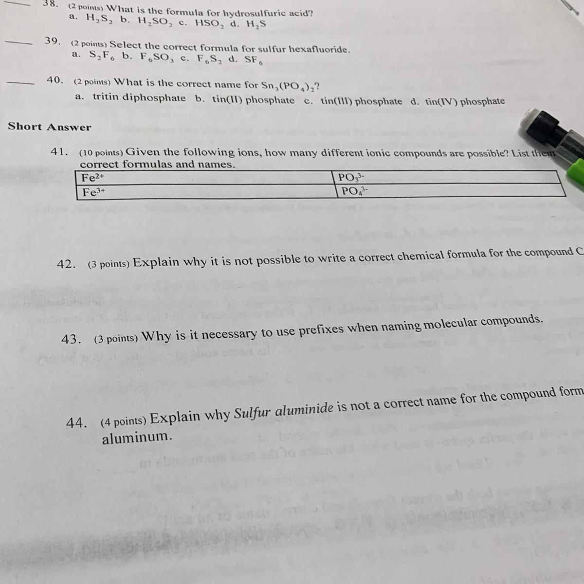 18. Given the following ions, how many different compounds are ...