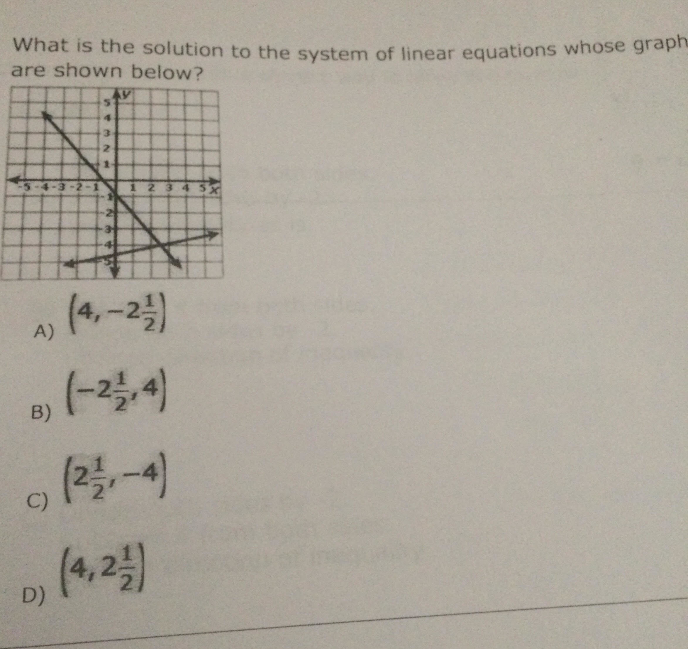 What is the solution to the system of linear equations ...