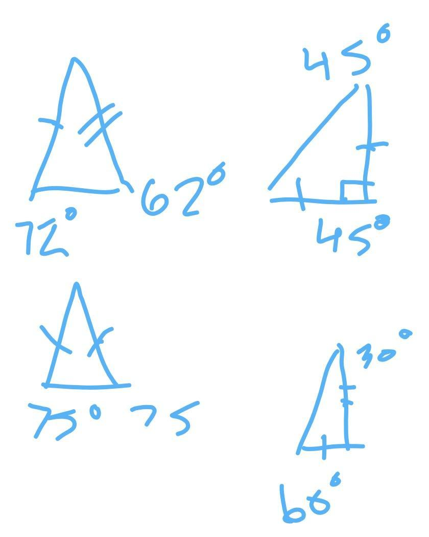 Caroline drew two triangles and used them to construct a