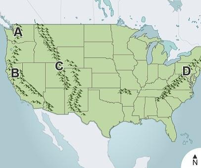 Mountain Ranges In The Us Map Study the major mountain ranges on the map of the united states