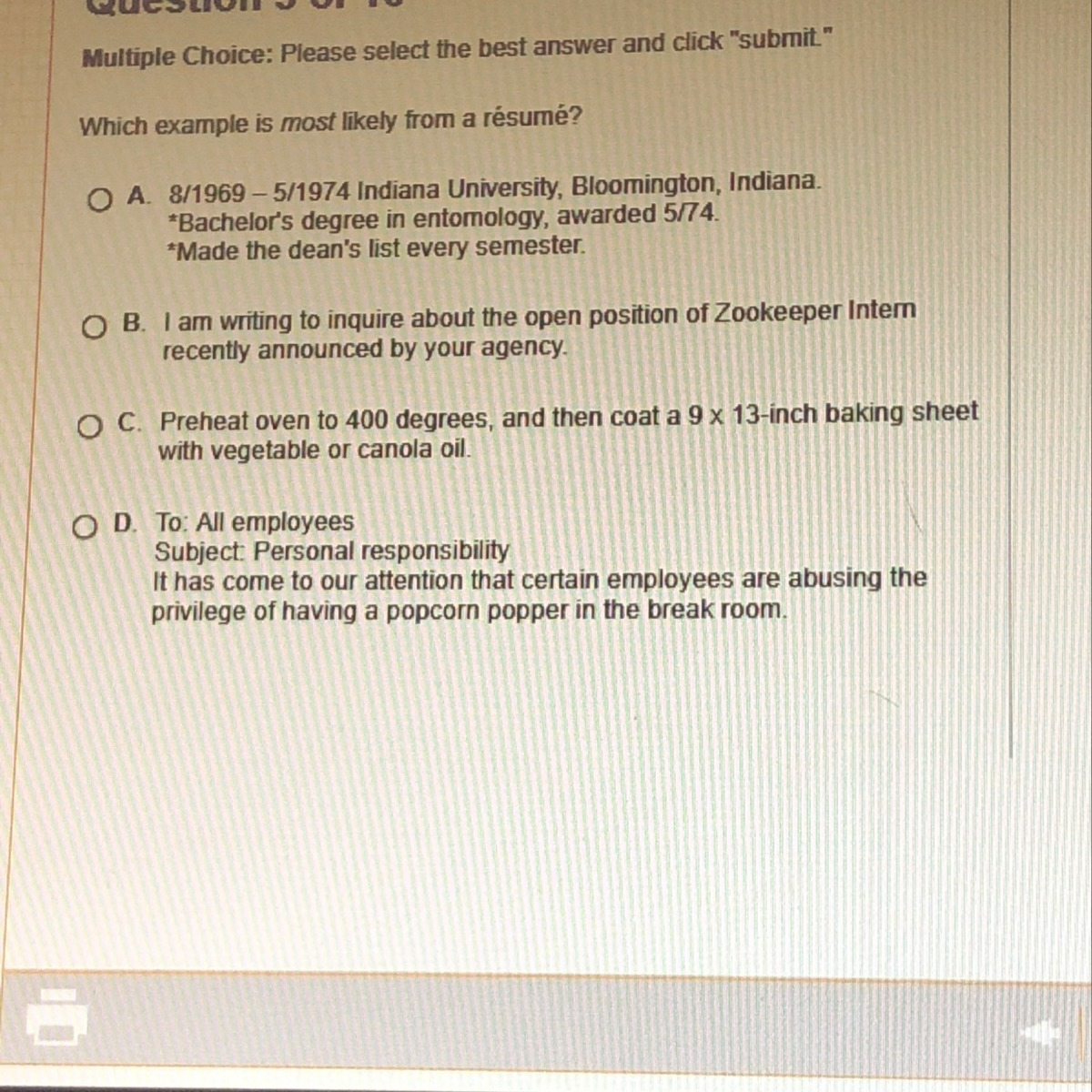 Which Example Is Most Likely From A Resume Brainly Com