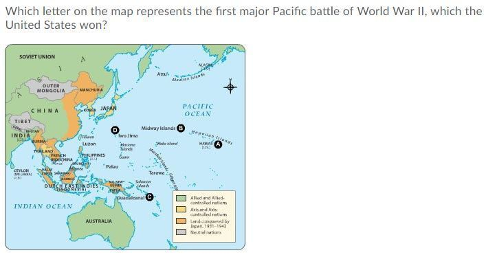 Which Letter On The Map Represents The First Major Pacific Battle Of - Pacific-us-map