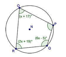 Quadrilateral OPQR is inscribed in circle N as shown below ...