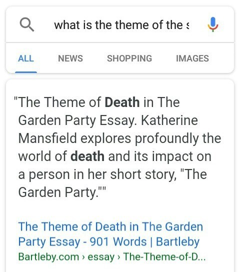what is the theme of the story The Garden Party? i have to