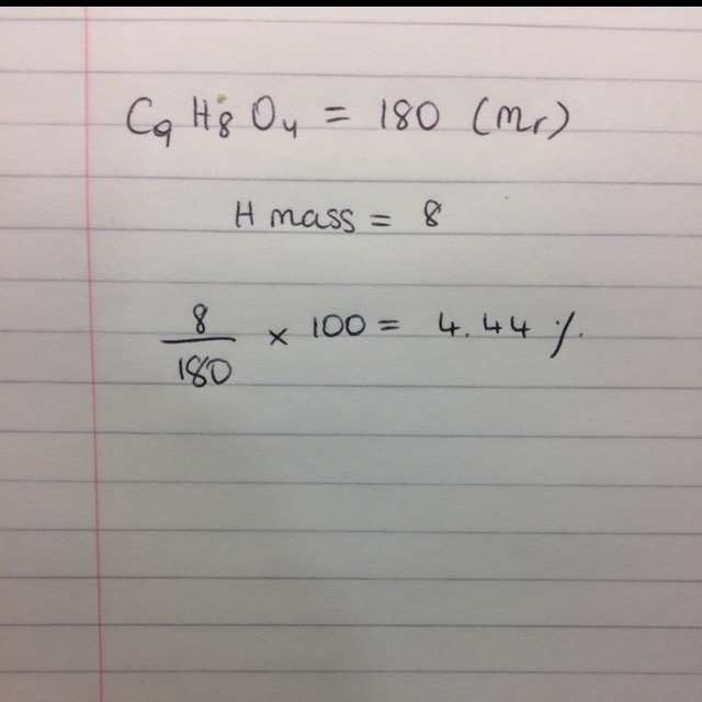 What is the percent by mass of hydrogen in aspirin (c9h8o4) ?