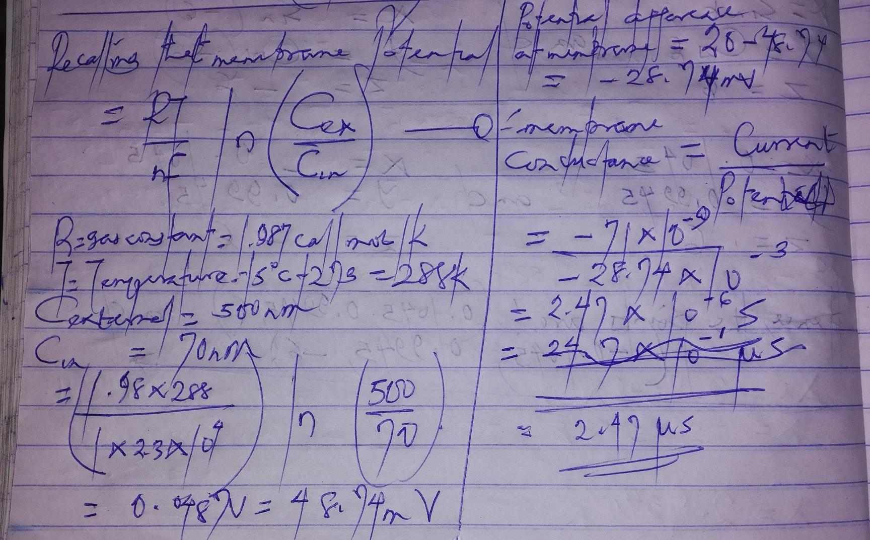 You Are Doing A Measurement To Determine The Conductance Of An Artificial Membrane The Membrane Is Brainly Com