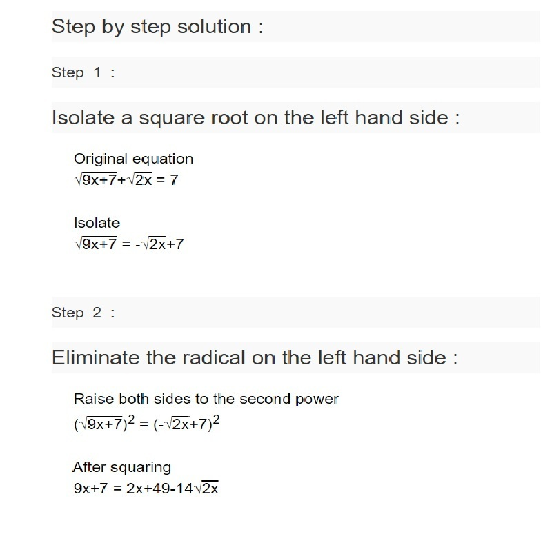 What Is The Solution For X In The Given Equation Square Root 9x7