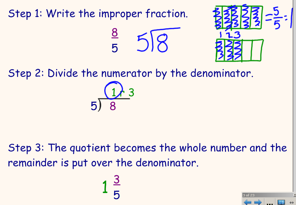 How to write a mixed number as improper fraction