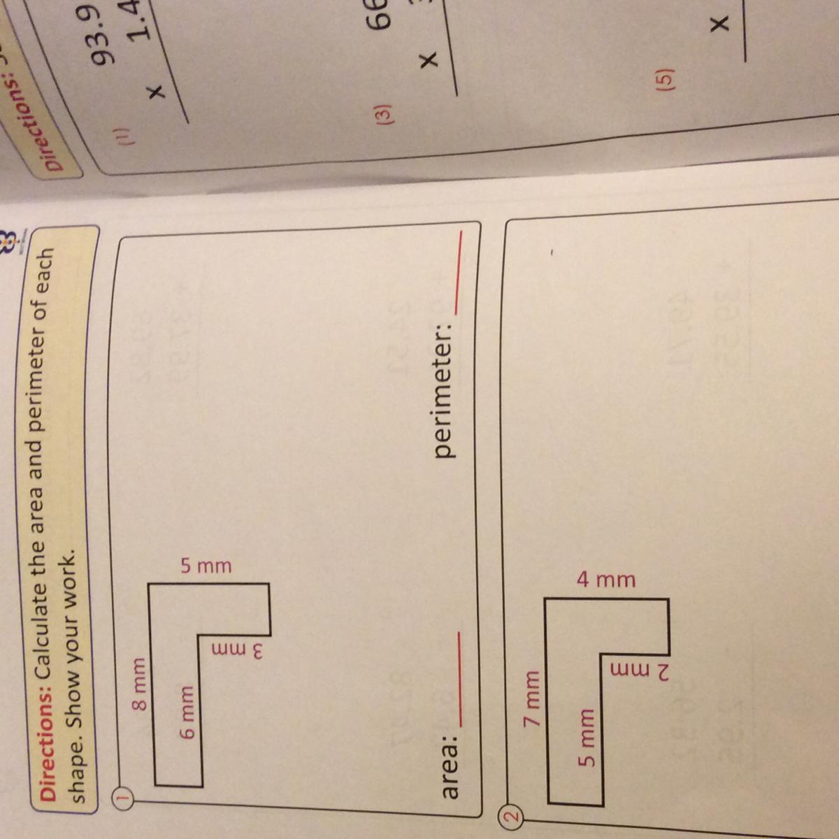explain how to do perimeter and area