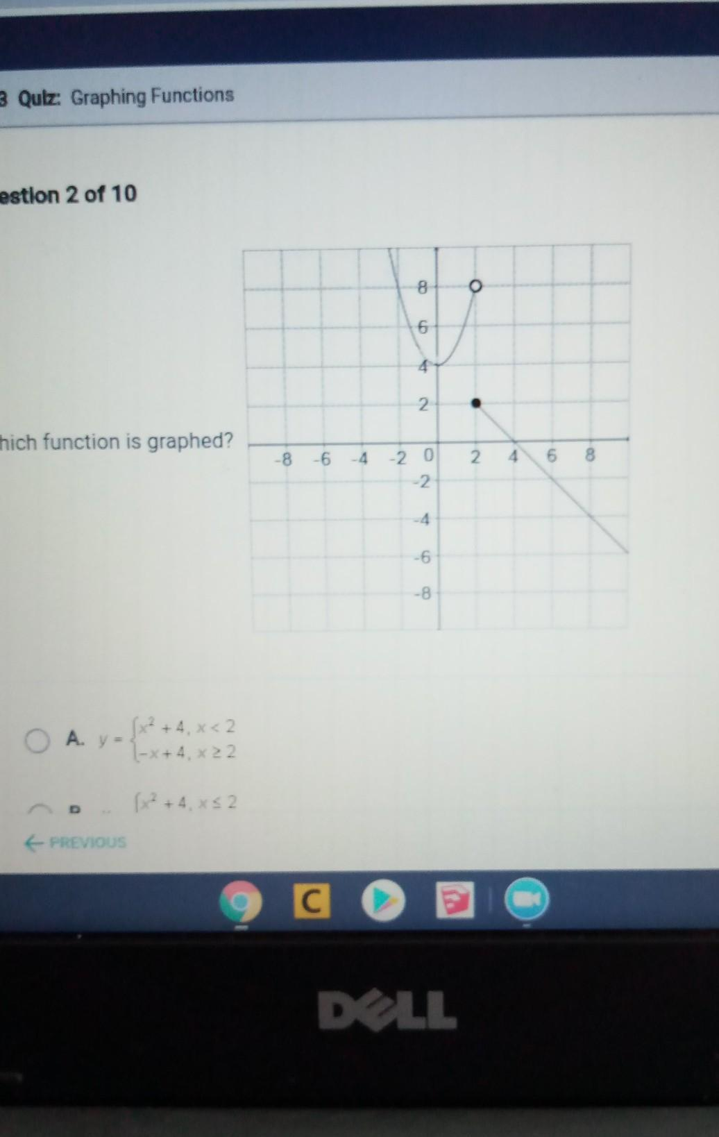 which function is graphed? - Brainly.com