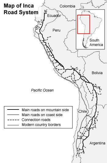 From the map below, what can you infer about the Inca cities ... Inca Empire Map Roads on greece map, inca warriors, lima map, inca city, inca buildings, inca pyramids, inca people, inca roads, chimu map, inca civilization, brazil map, tenochtitlan map, inca houses, inca trail, mesoamerica map, inca food, china map, inca crops, inca art, inca flag,