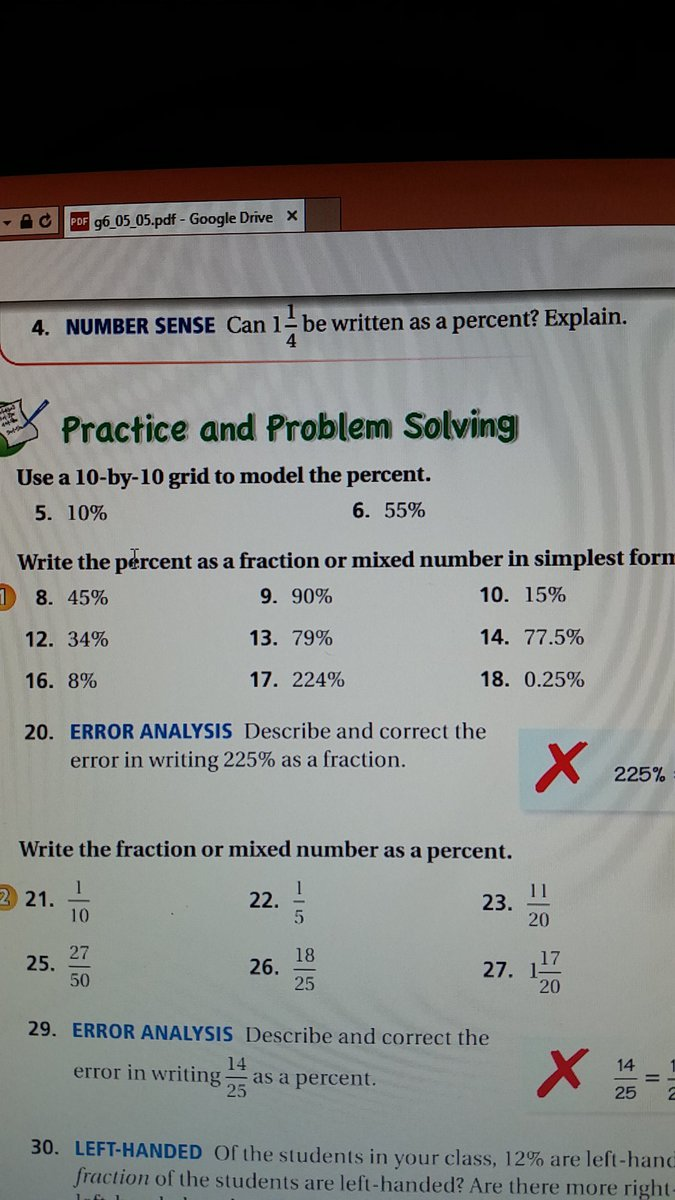 simplest form percent as a fraction  Write the percent based a fraction or mixed number in ...