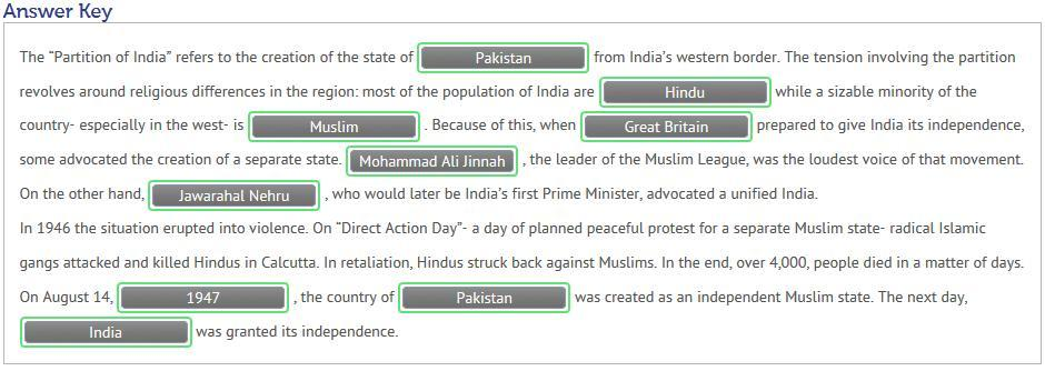 "The ""Partition of India"" refers to the creation of the state"