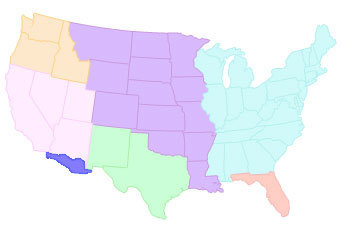 In the map shown above, what does the small region below the Mexican ...