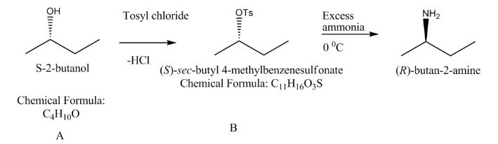 A (c4h10o) reacts with p-toluenesulfonic chloride to give b