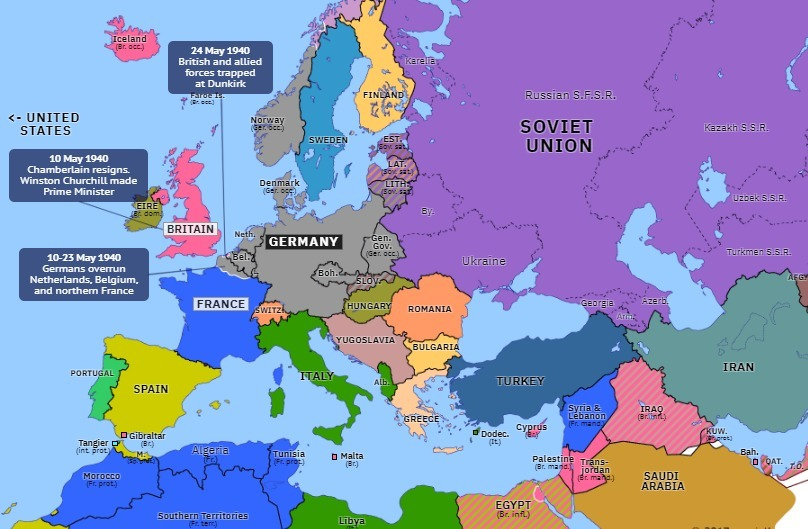 Map Of Germany France.Europe In 1940 This Map Illustrates A Countries Occupied By Germany