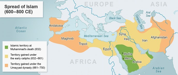 The map shows the Middle East from 600 to 800 CE What information