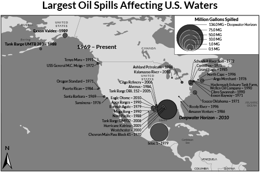 BRAINLIEST!!!!!!!!!! The map shows the largest oil spills ...