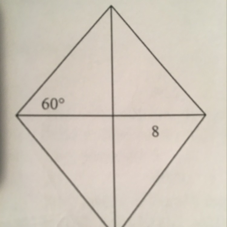 Find the area of the rhombus leave your answer in simplest radical ...