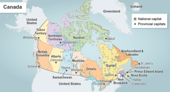 Map Of Canada And The States.Read The Map Of Canada Which Type Of Map Is This A Dot Density B