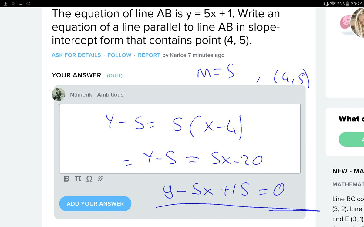 The equation of line ab is y 5x 1 write an equation of a line download png falaconquin