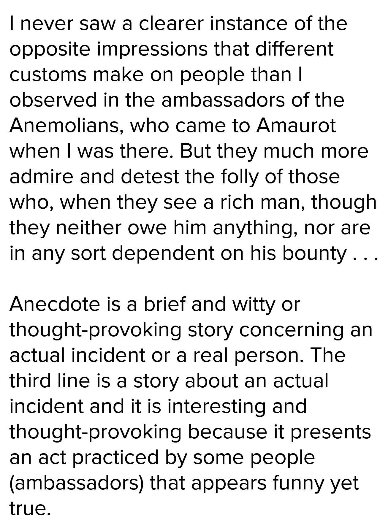 Which Line From Utopia Is An Example Of Anecdote The Folly