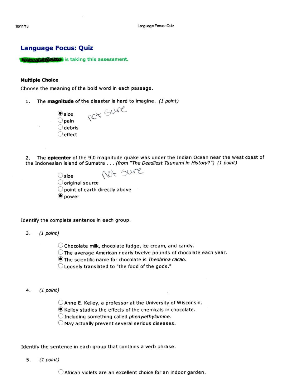 language focus quiz to see questions please loo com 1