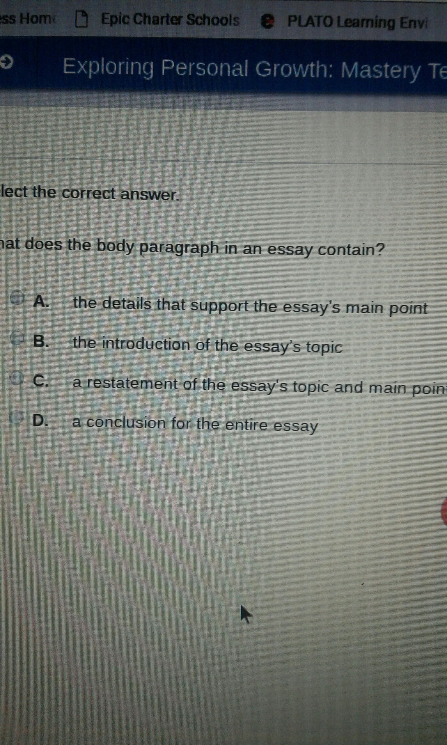 What Does The Body Of Paragraph In A Essay Contain  Brainlycom