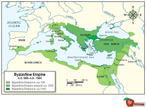 The following map shows the Byzantine Empire in 565 AD (CE), 1020 AD on