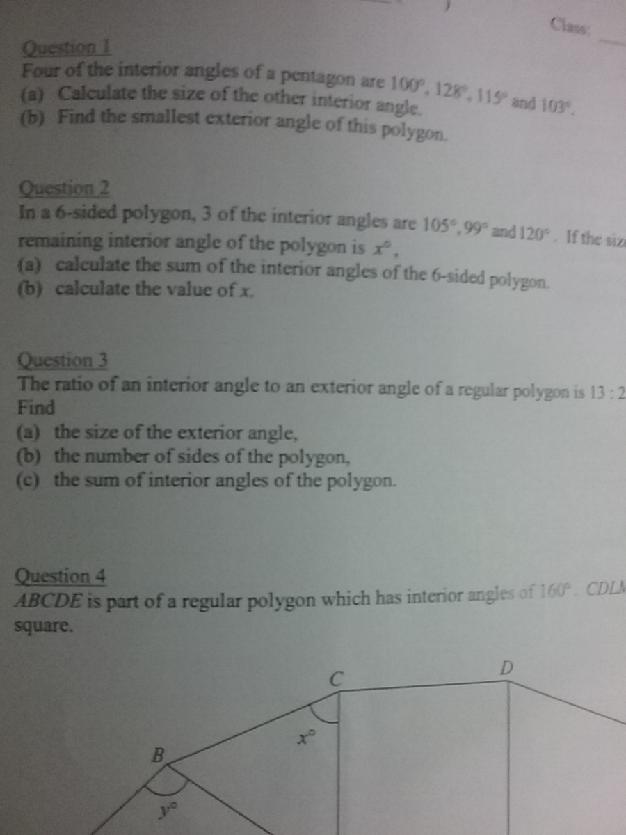 The ratio of an interior angle to an exterior angle of a - How to find the exterior angles of a polygon ...