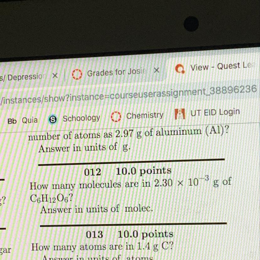 How many molecules are in 2 30 x 10^-3 g of C6H1206 answer