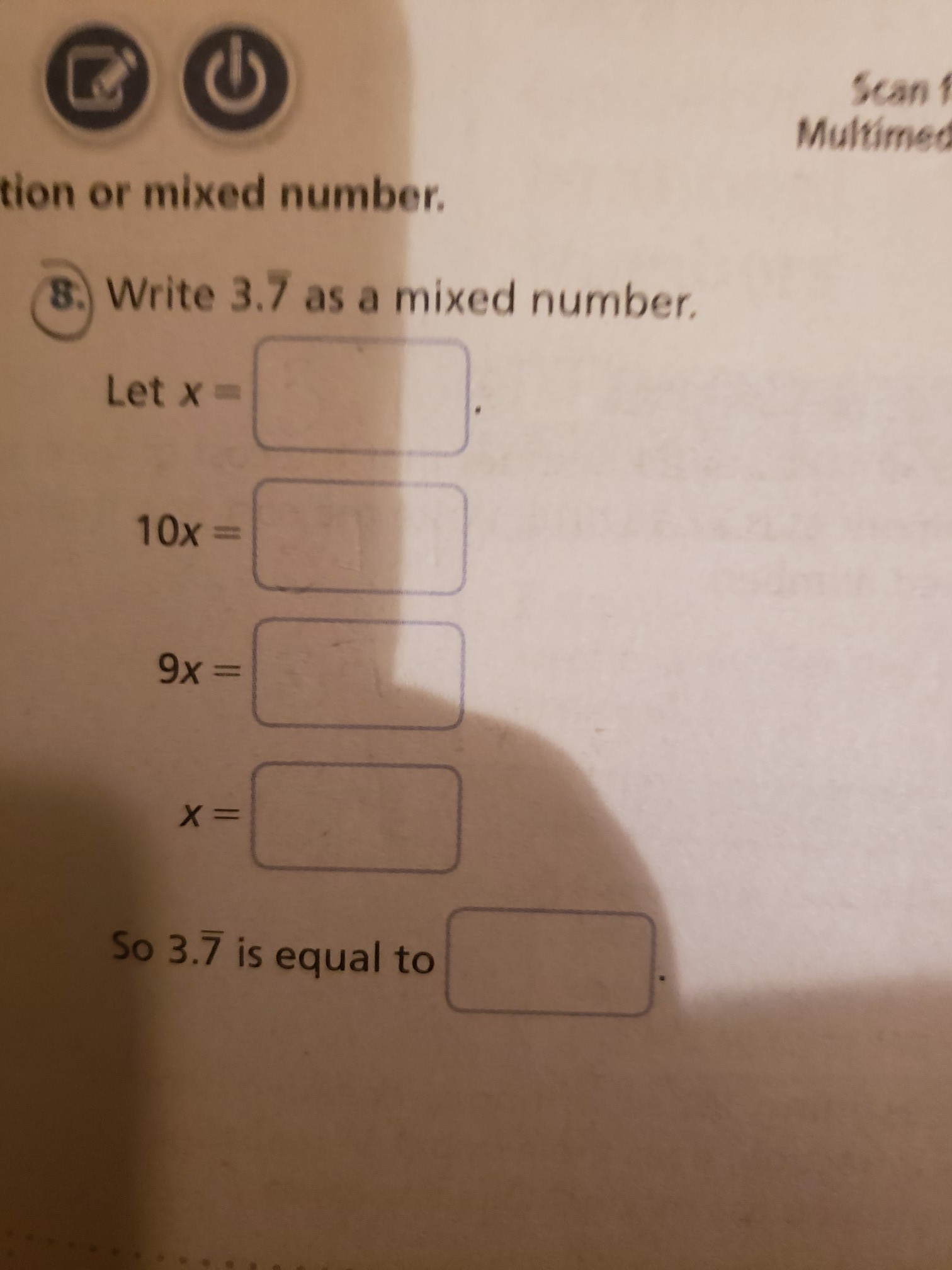 write 37 repeating as a mixed number  brainly