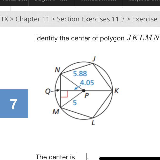 Identify the center of polygon JKLMN - Brainly.com