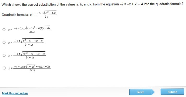 Which shows the correct substitution of the values a, b, and