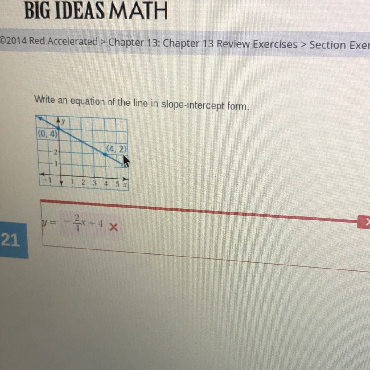 slope intercept form big ideas math  write an equation in slope-intercept form (112,112) and (112,12 ...