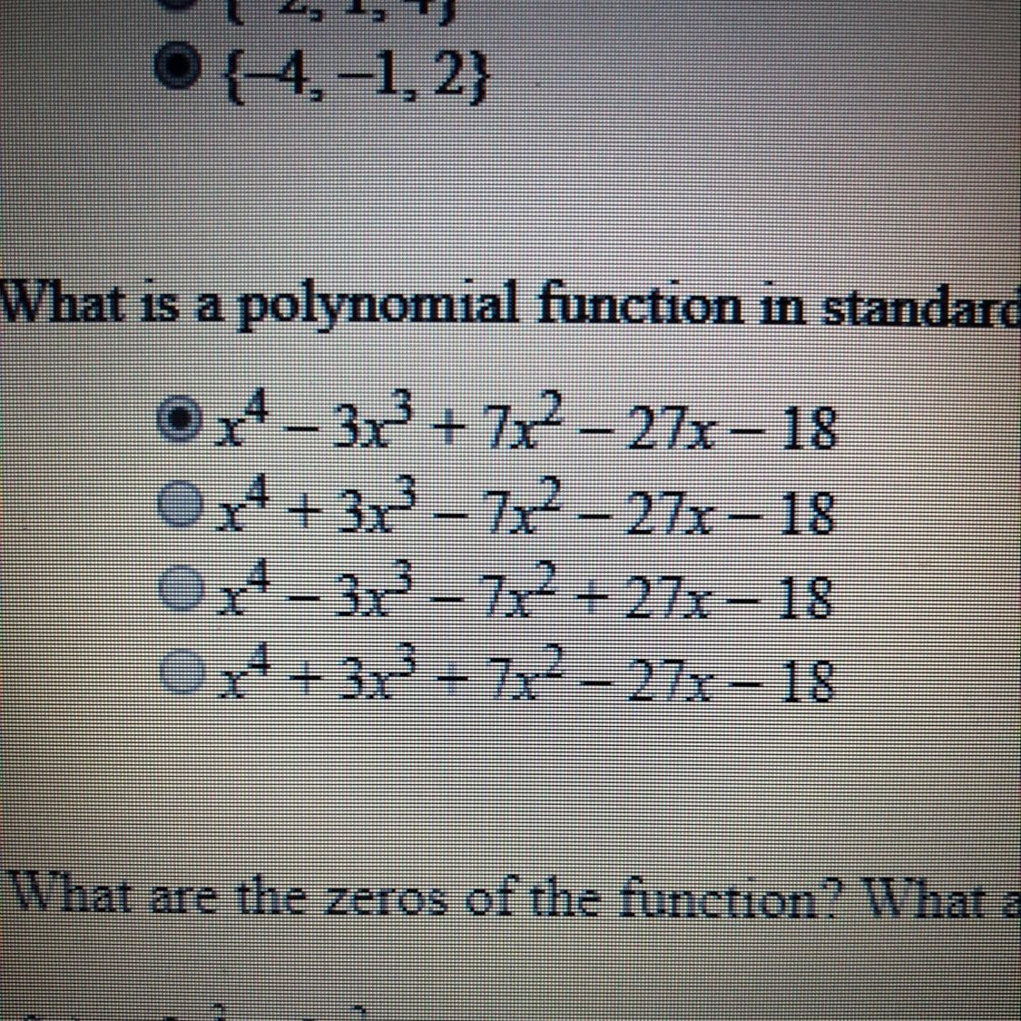 what is a polynomial function in standard form with zeros