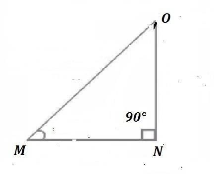 Given right triangle MNO, which represents the value of ...