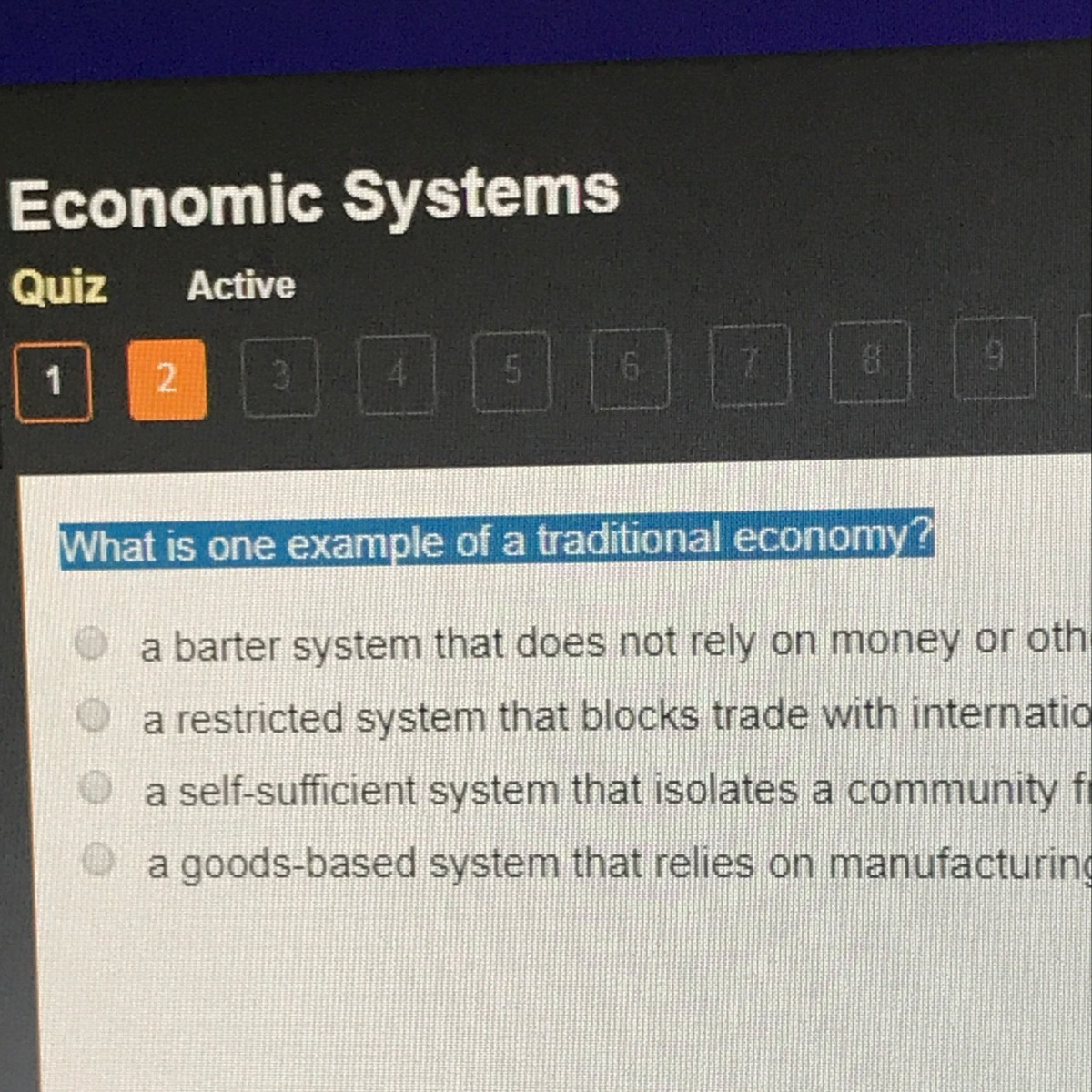 What Is One Example Of A Traditional Economy Brainly