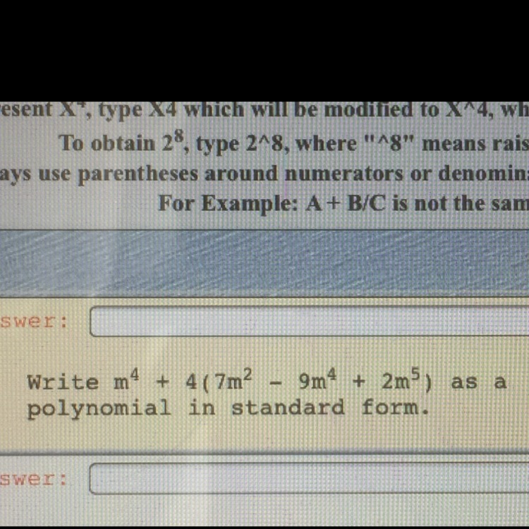 Help Please Write M4 4 7m2 9m4 2m5 As A Polynomial In