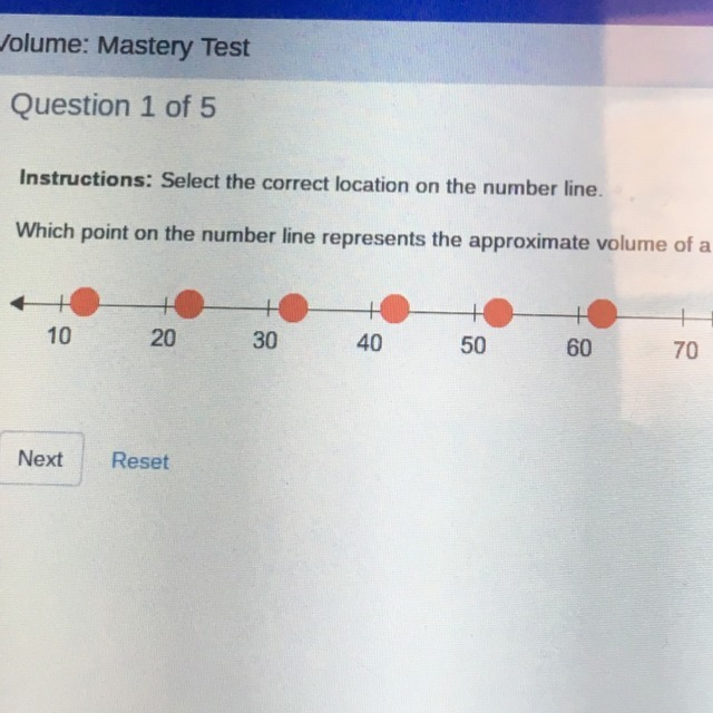 Which Point On The Number Line Represents The Approximate Volume Of