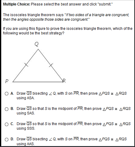 """The isosceles triangle theorem says """"if two sides of a ..."""