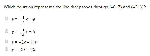 Which Equation Represents The Line That Passes Through (–6