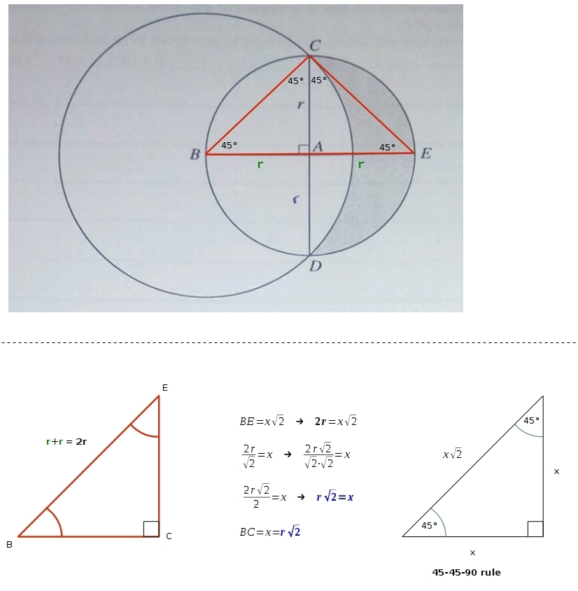 The Diagram Shows A Circle With Center A And Radius R  Diameters Cad And Bae Are Perpendicular