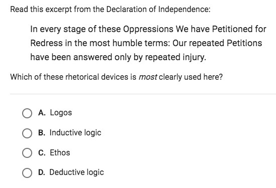 rhetorical devices in declaration of independence