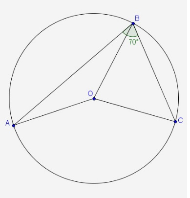 In The Diagram Point O Is The Center Of The Circle If M Abc 70 What Is M Aoc Brainly Com