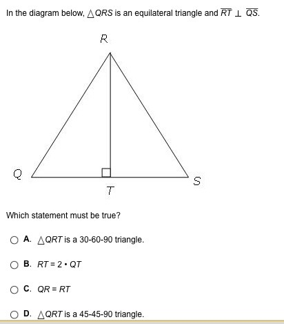 in the diagram below qrs is an equilateral triangle and rt qs rh brainly com quadrilaterals diagram notes quadrilaterals diagram notes