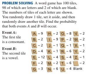 A word game has 100 tiles, 98 of which are letters and 2 of which