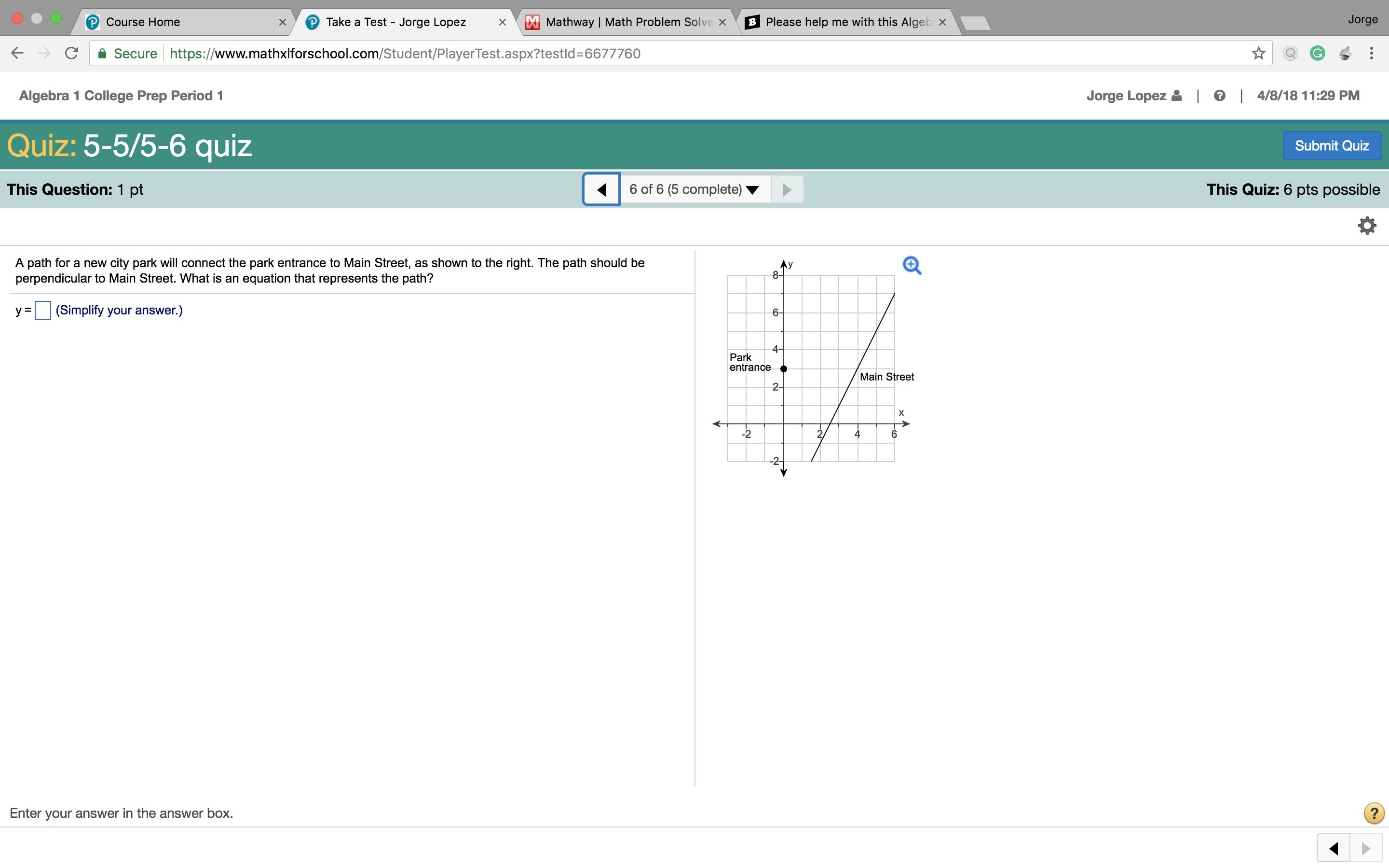 Please help me with this Algebra problem I need to complete for ...