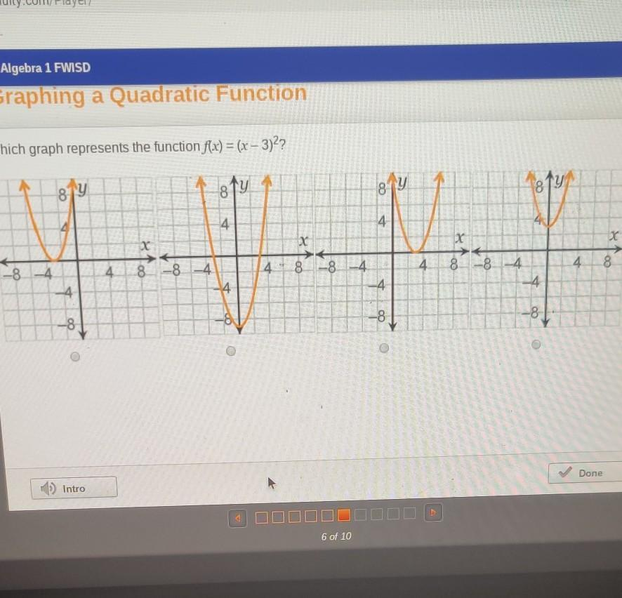 Which graph represents the function f(x) = (x-3 ...