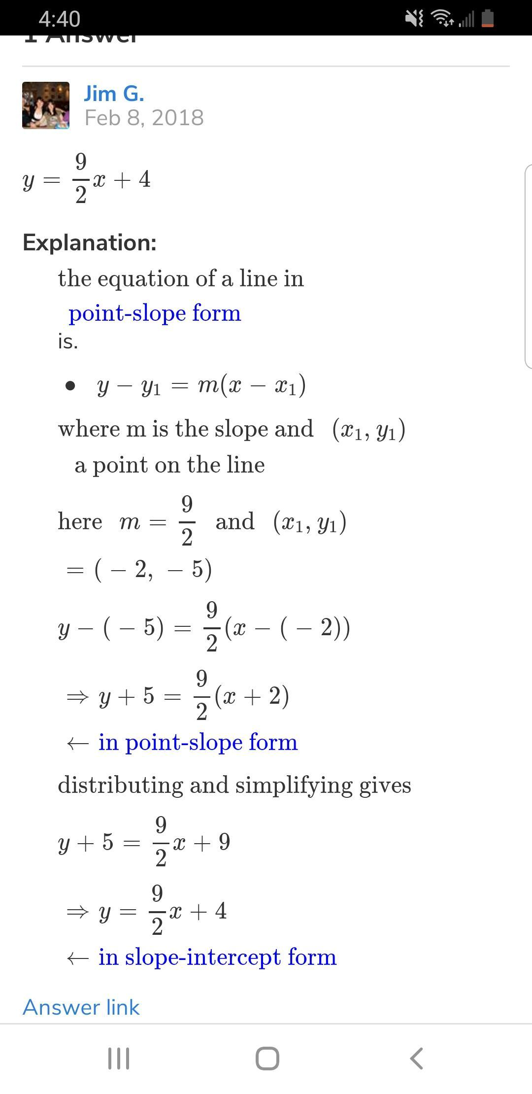 Which Equation Represents A Line That Passes Through (-9